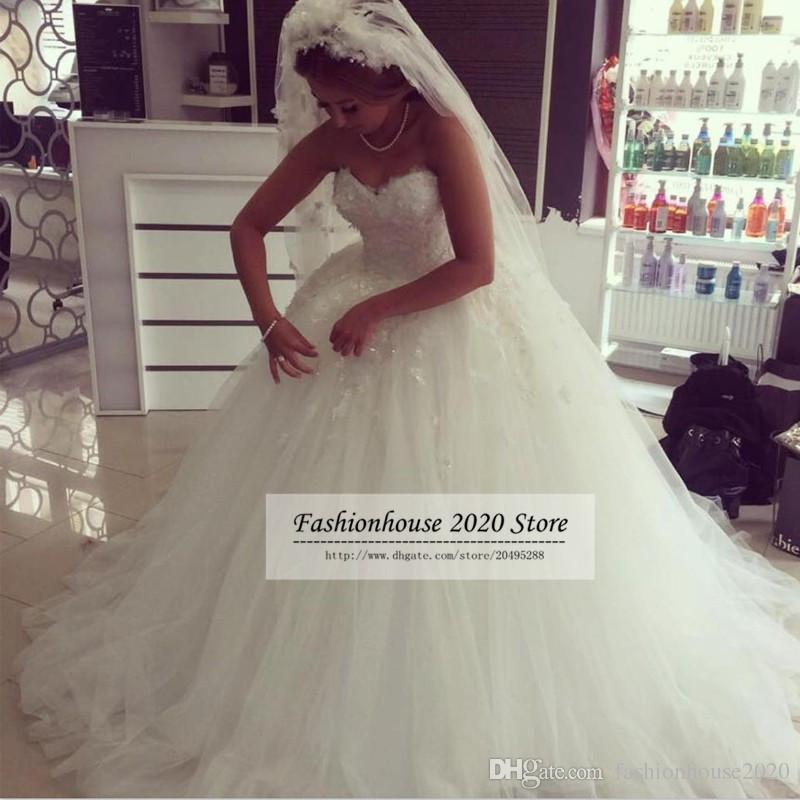 Latest Design Puffy Tulle Plus Size Wedding Dresses Sweetheart Applique Lace Wedding Gowns Bride Dresses Vestido De Noiva