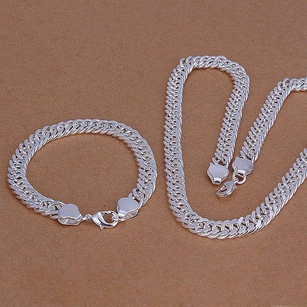 So schwer 10MM seitlich Sterling Silber versilbert Schmuck-Set für Männer WS208, schöne 925er Silber Armband Halskette Set
