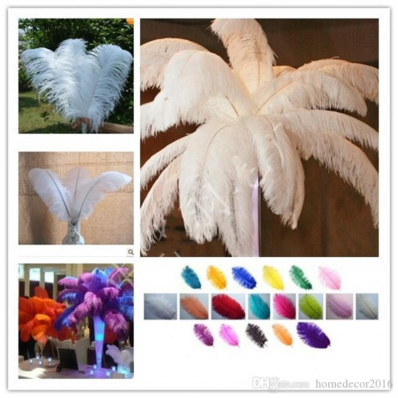 Wholesale 10Pcs per lot 8-28inch Natural White Ostrich Feathers Plume Centerpiece for Wedding Party Table Decoration