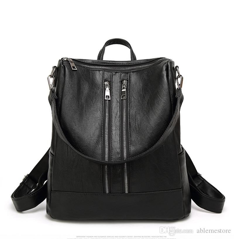 b788a4374a02 New 2017 Famous Brand Women Backpack Simple Casual School Bag Medium Size  female shoulder bags Leather Backpack for Preppy Girl s Daily Bag