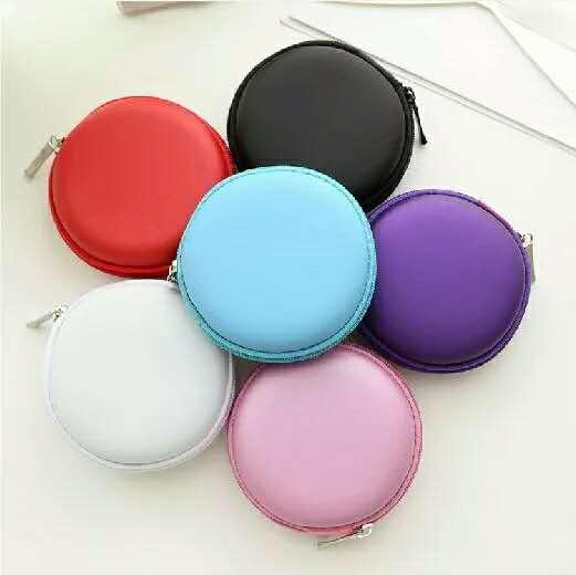 Small Round Pocket Earbud Travel Carrying Case for Smartphone Earphone Bluetooth Headset Storage Bags Hard Box USB Cable with 6 Colors