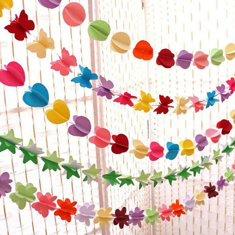 Wiszące Papier Garland Heart Star String Wedding Party Urodziny Decor Banner Roam Drzwi Zasłona Dekoracji 3D Za4896