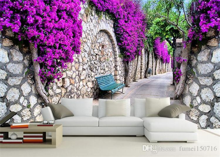 Large Mural Flower Wall Paper 3D Stereoscopic Living Room