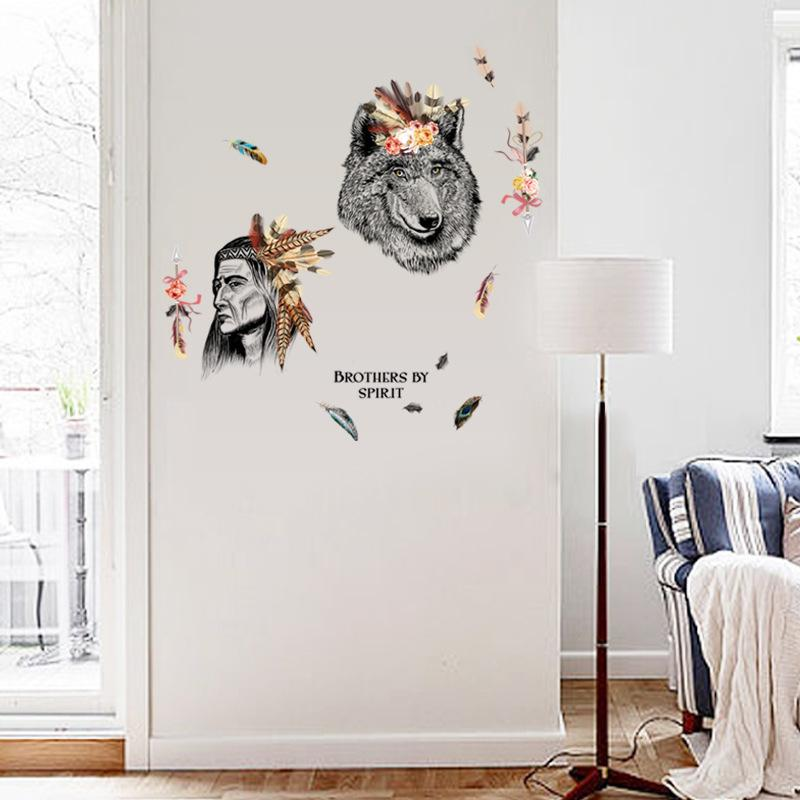 New Indian And Wolf Wall Stickers Home Decor Vinyl Wall Decal For - Wall decals hallway