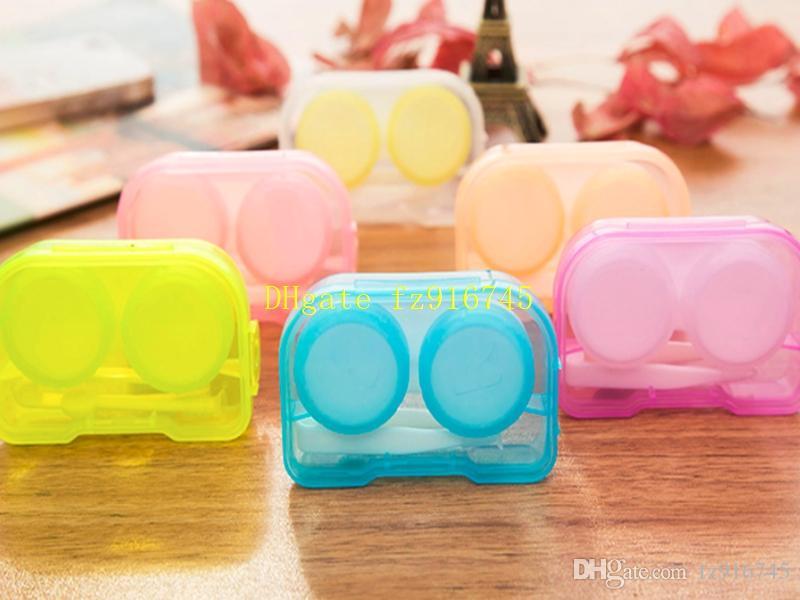 50psets / 4 in 1 kit scatola compagno con il caso Hanging scatola di lenti a contatto buco Occhiali caso di preparazione
