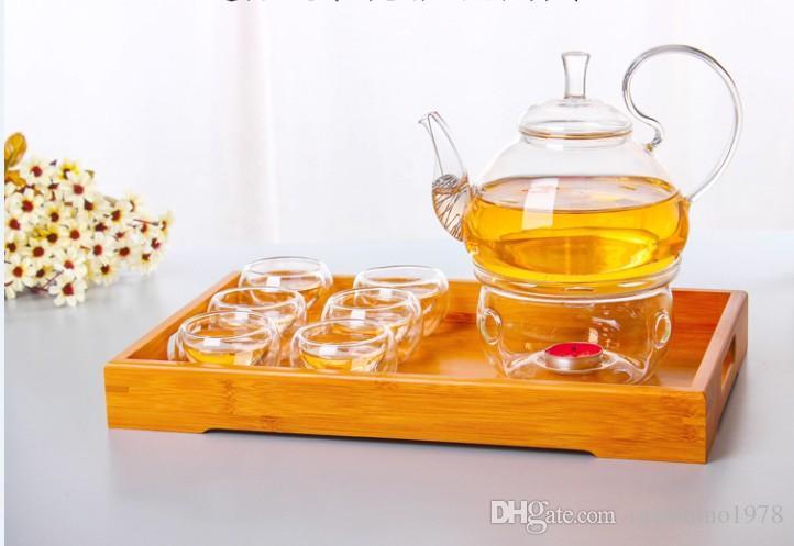 ハイハンドルフラワーコーヒーガラスティーポットブルーミング中国のガラスティーポットJ1011-1が付いている1ピース250mlの耐熱性