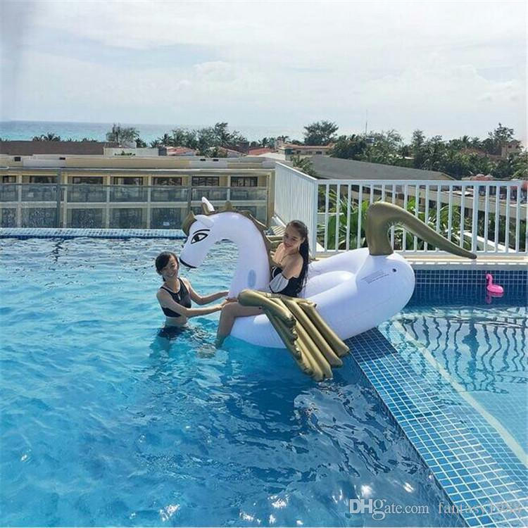 Summer Swim Inflatable Float Ring Ride-On Pool Toys Giant Inflatable Unicorn Pegasus Water Swimming Float Raft Air Mattress Toy DHL/Fedex