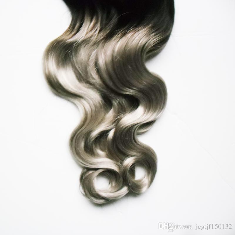 Brazilian Virgin Body wave micro loop hair extensions T1b/gray ombre hair extensions 100g micro link human hair extensions
