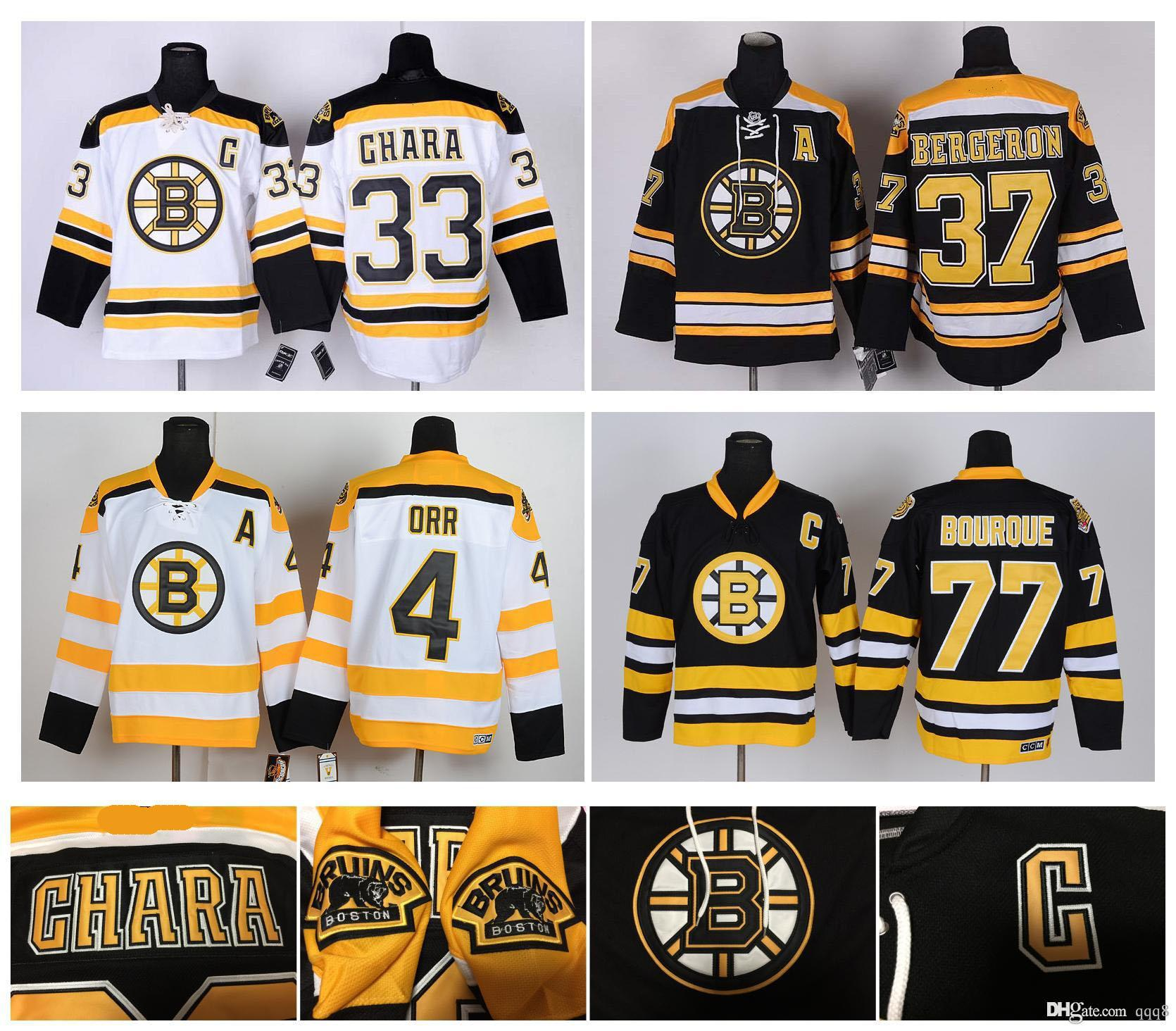 2018 Boston Bruins Jersey 4 Bobby Orr 33 Zdeno Chara 37 Patrice Bergeron 63  Brad Marchand 77 Ray Bourque 8 Cam Neely Stitched Hockey Jersey From Qqq8 78033b2922b