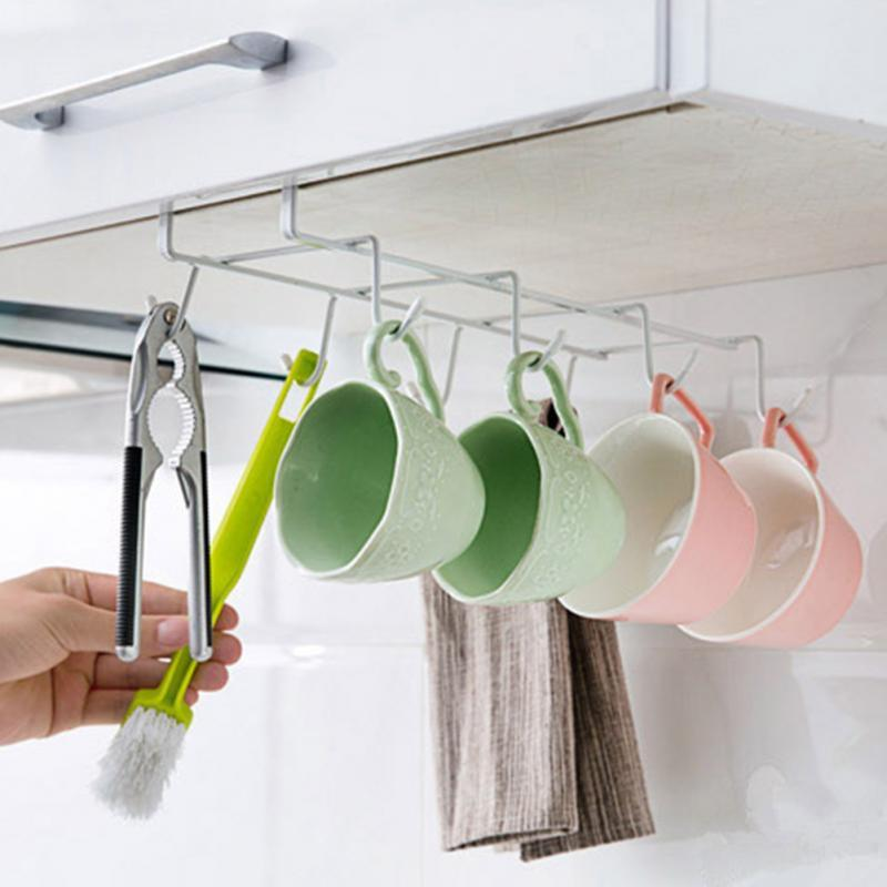 2018 Under Cabinet Metal Mug Cup Holder Drying Rack Kitchen Hanging  Organizer Cupboard Hook Organizers Storage Holder From Hoomook, $7.53 |  Dhgate.Com