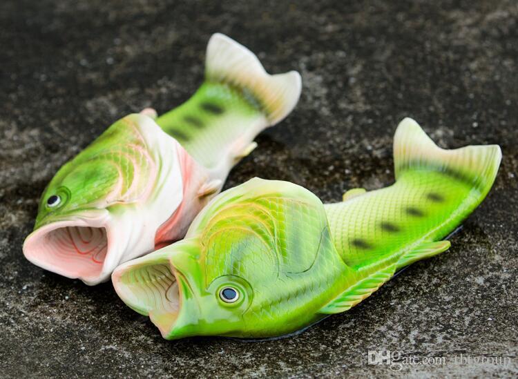 2017 жаркое лето новый шаблон творческого моделирования рыбы тапочки открытым носком плоские модели пара Песчаный пляж обувь baby женщины мужчины размер 31-44