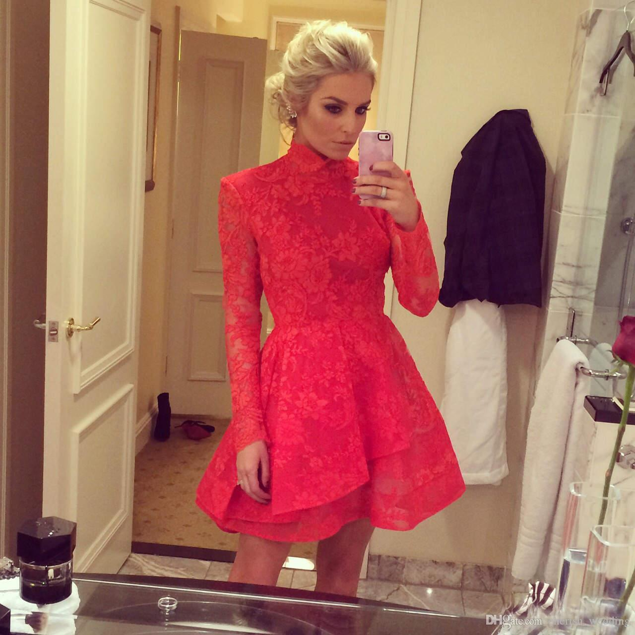 Red Lace Short Prom Dresses 2017 A-Line High Neck Applique Mini Long Sleeves Party Cocktail Dresses Evening Gown Wear Homecoming Dresses