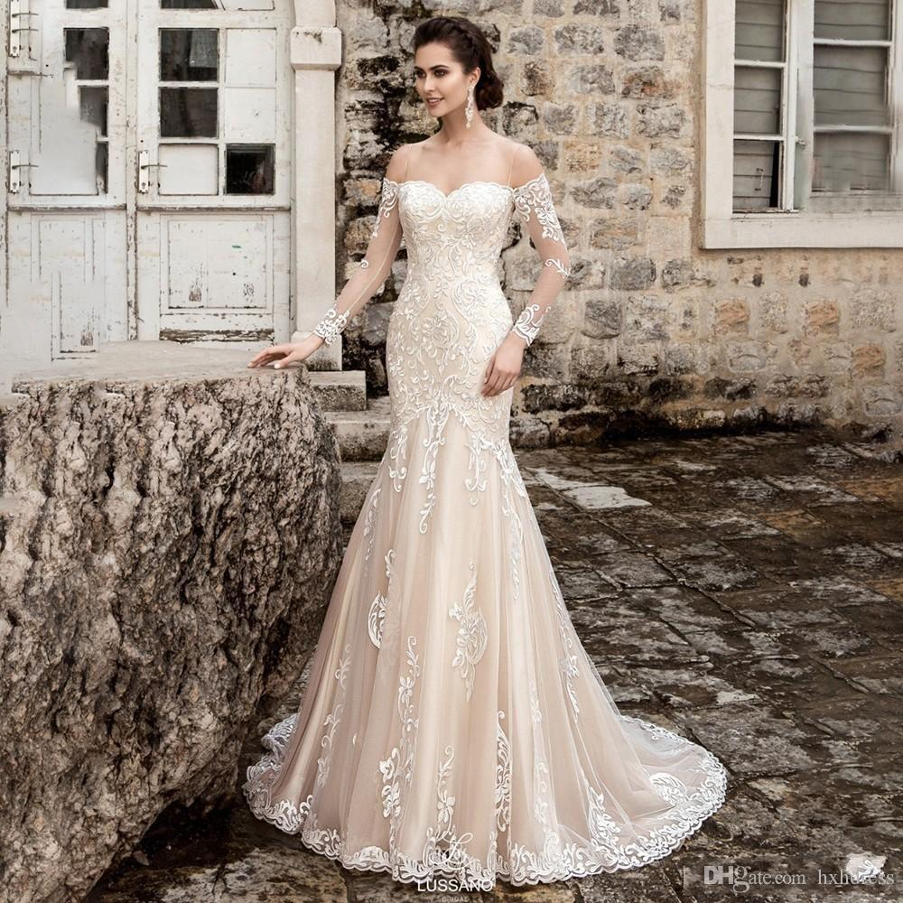 2019 New Design Long Sleeves Wedding Dress Sweetheart Court Train Lace Appliques Tulle Mermaid Wedding Dresses Vestidos De Noiva 384
