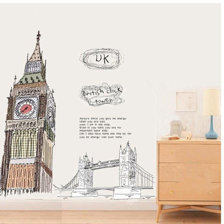 100x100cm Graffiti Big Ben Wall Sticker Kids Baby Room Removable Doodle  Clock Tower Decal Home Decoration Art Wallpaper Scribbling Poster Owl Wall  Stickers ... Part 88