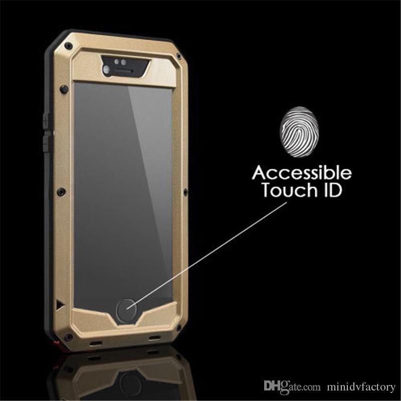 Dropproof à prova d 'água à prova d' água à prova de choque phone case para iphone 4 4s 5 5s 5c 6 6 s 4.7 além de tampa de metal de volta