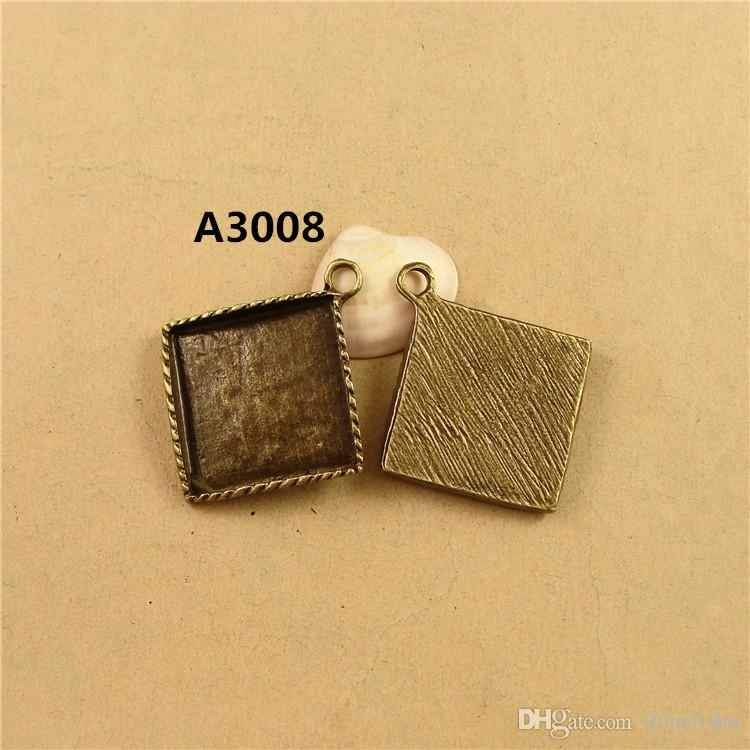 Fit 25MM square pendant setting, DIY handmade jewelry accessories wholesale bronze antique silver cameo base, cabochon blank tray bezel bulk