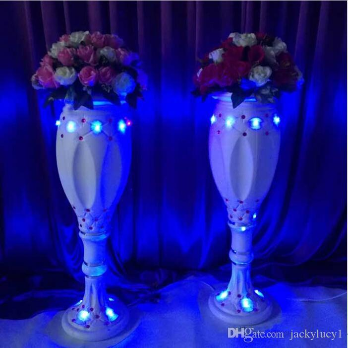 Neue Stile Weiß Kunststoff Vase Römische Säule Straße Führen Für Hochzeit Willkommensbereich Läufer Gang Dekoration Lieferungen