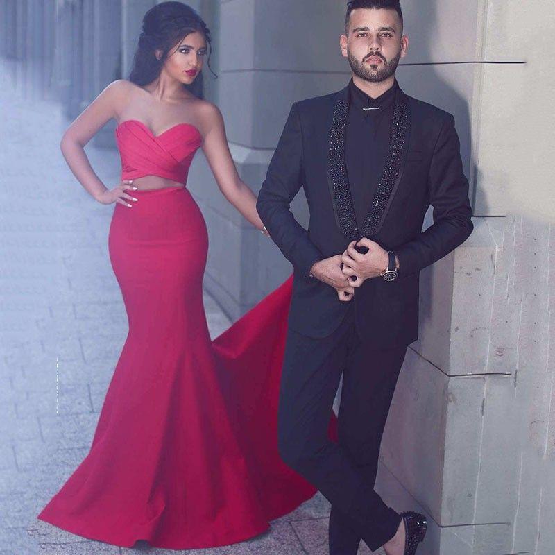 Dicho Mhamad 2017 Rojo Dos Piezas Vestidos de baile Sirena Cariño plisado Criss Cruz barrido tren noche vestidos del partido barato