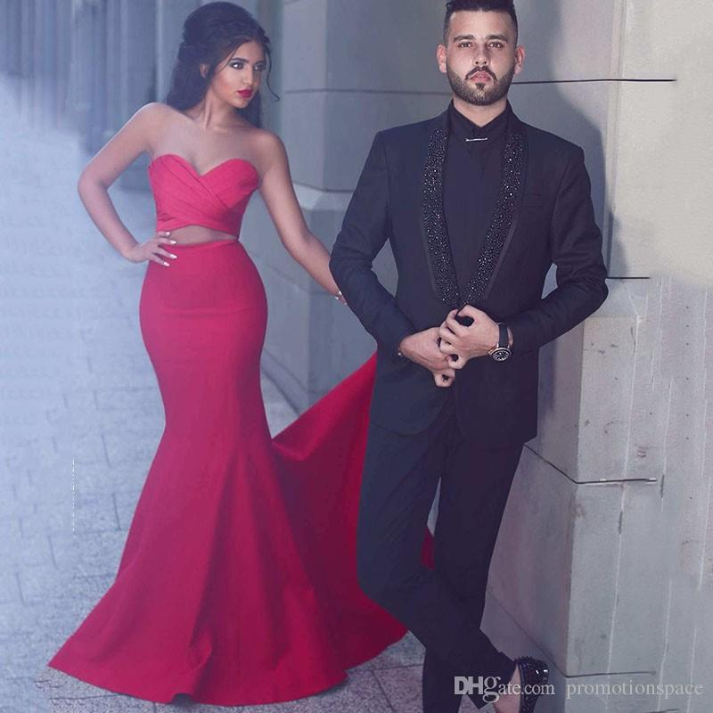 Said Mhamad 2017 Red Two Pieces Prom Dresses Mermaid Sweetheart Pleated Criss Cross Sweep Train Evening Party Gowns Cheap