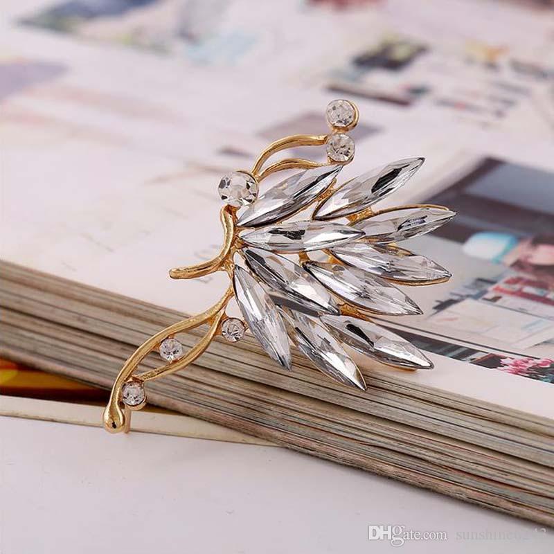 Crystal S925 silver ear cuff earrings Korean butterfly ear clips earring for women girl love ear cuffs earhook jewelry