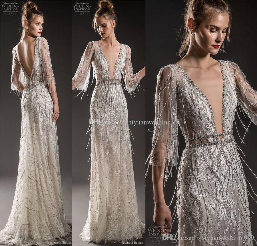Full Jeweled Embellishment Fringe Bodice Elegant Glamorous Sheath ...