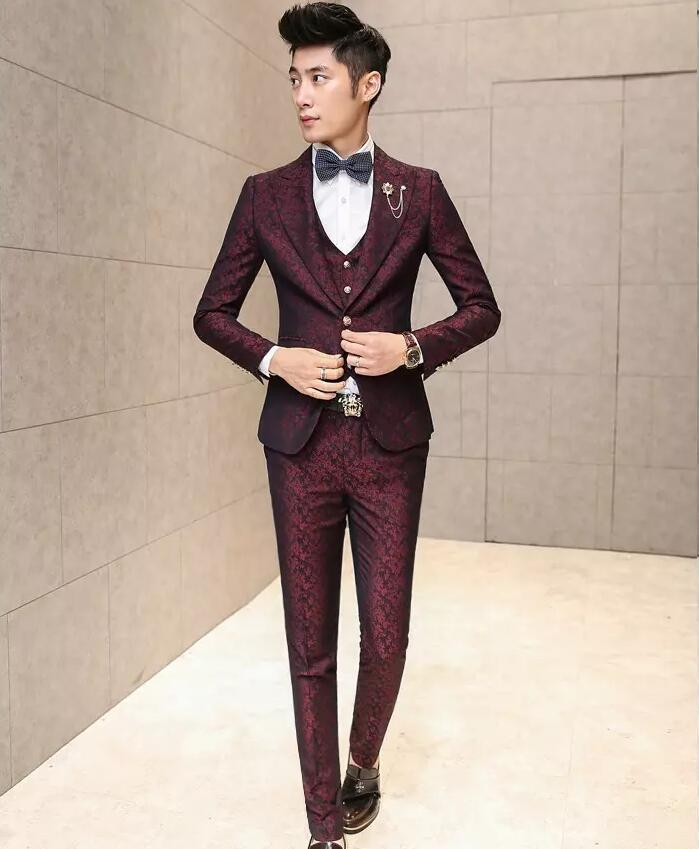 2019 fashion red suits men fancy blazer flower printed