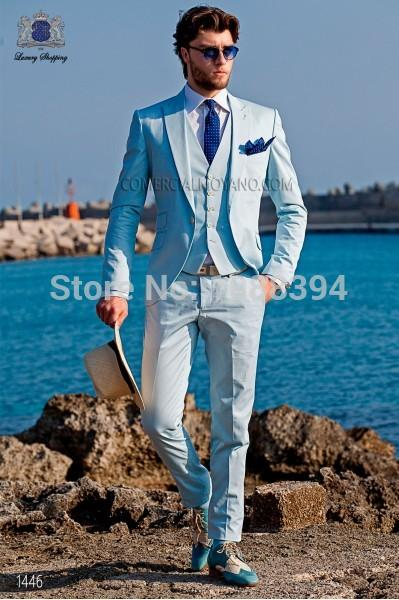 2017 Wholesale Custom Made Spring Style Men Suits Light Blue ...