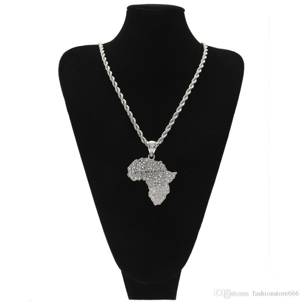 Hip Hop Argento Colore oro Collana africana Collana uomini donne gioielli in lega d'avanguardia con lunga catena corda da 30 pollici
