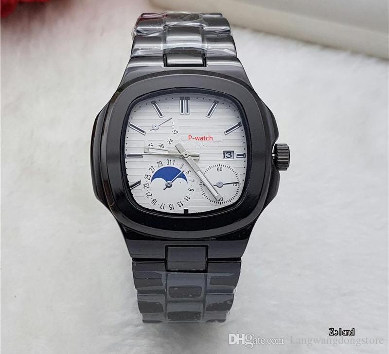 Mesa de cuarzo de lujo Mecánica automática de alta calidad para hombre reloj esfera azul Acero inoxidable zafiro Reloj de hombre transparente de cristal transparente