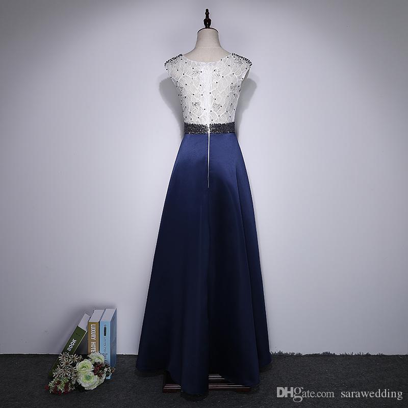 Bateau Neck Lace abito da sera con perline raso 2020 Abito lungo di promenade partito elegante abiti Trasporto veloce