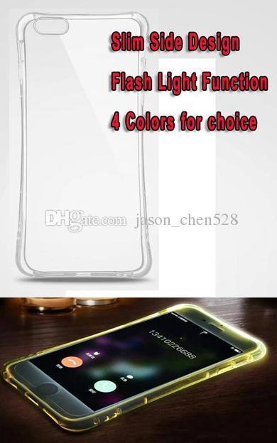 Hot selling Lightning Flash LED Light Up Phone Case For iphone5 6 6plus 7 7plus Samsung Galaxy S6 S7 Edge Plus Soft Bling incoming Cover