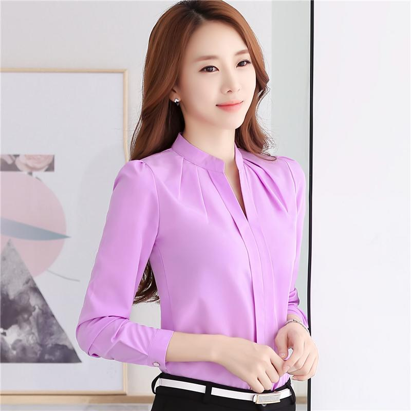 b315f9b21ce04 2019 Elegant V Neck Formal Women Blouse Summer OL Fashion Slim Long Sleeve  Chiffon Shirt Office Ladies Plus Size Tops Lavender White From China mike
