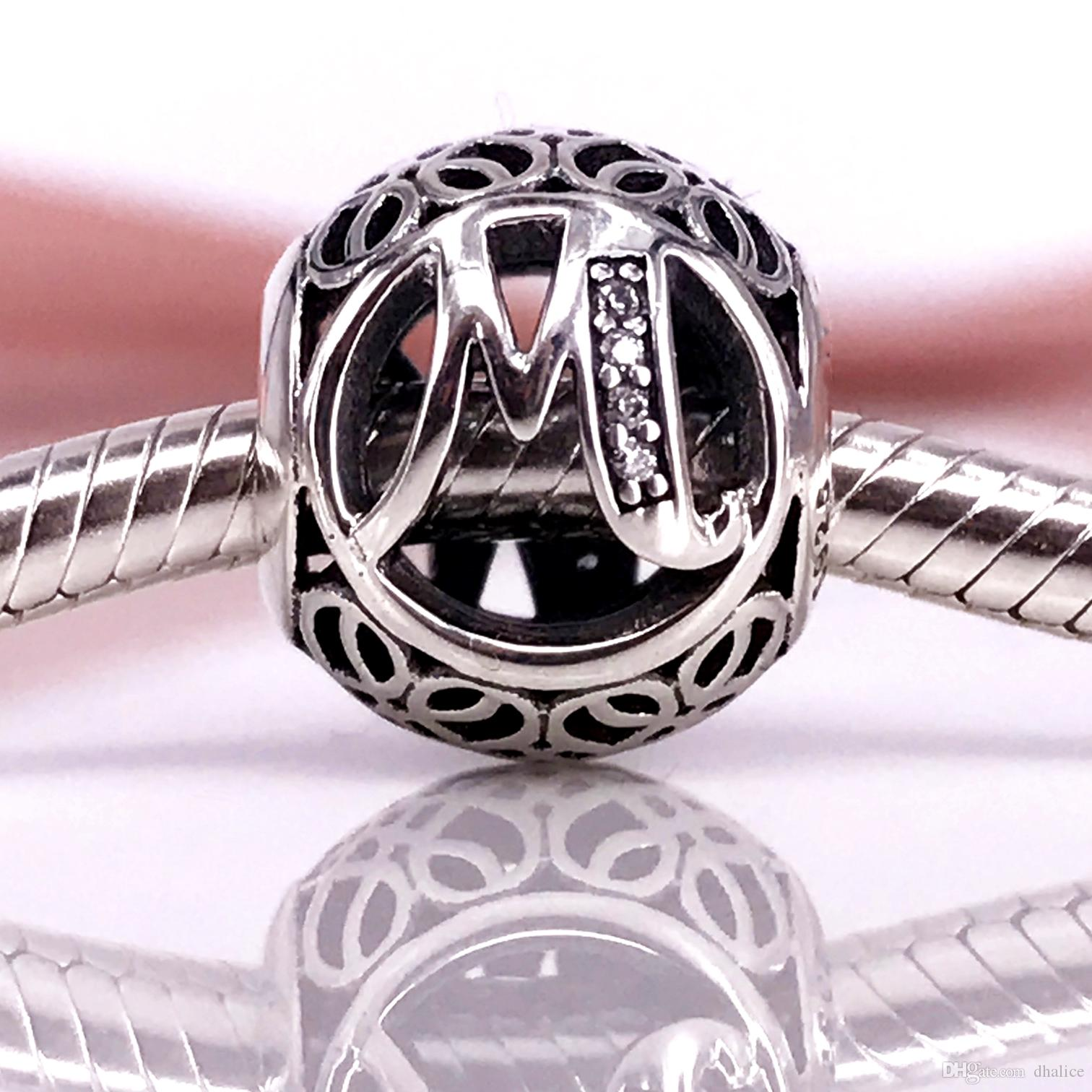 75ceae997 Authentic 925 Sterling Silver Vintage W, Clear CZ Charm Fit DIY ...