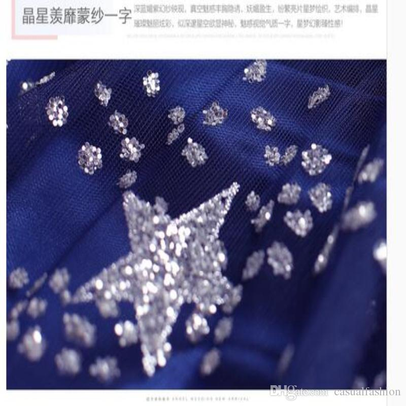 Sexy Party Blue Evening Dress Backless Hangover Best Elegant Beading A Word Shoulder Princess Long wedding