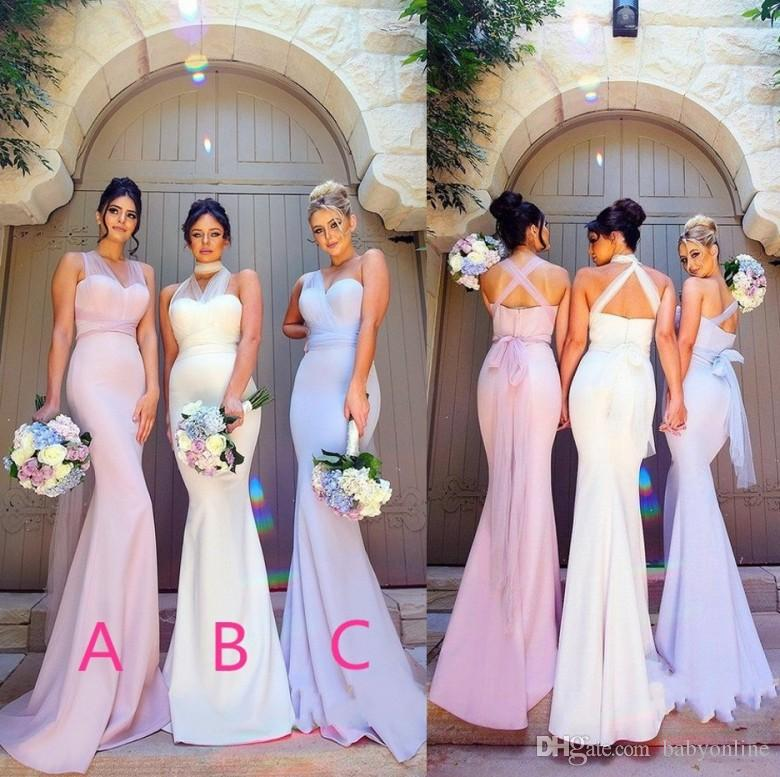 Elegant Mermaid Stretchy Elastic Satin Bridesmaid Dresses 2018 Stylish  Sheer Straps Maid Of Honor Evening Prom Party Wedding Guest Gowns Wrap  Bridesmaid ... 03367a513c26