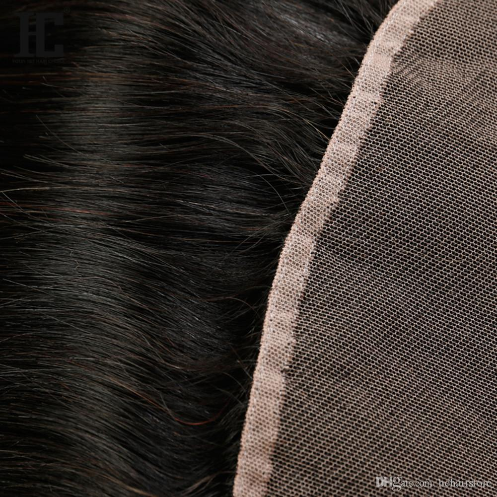 HC Brazilian Straight Human Virgin Hair Weaves with 13x4 Lace Frontal Ear to Ear Full Head Natural Color Can be Dyed Unprocessed Human Hair