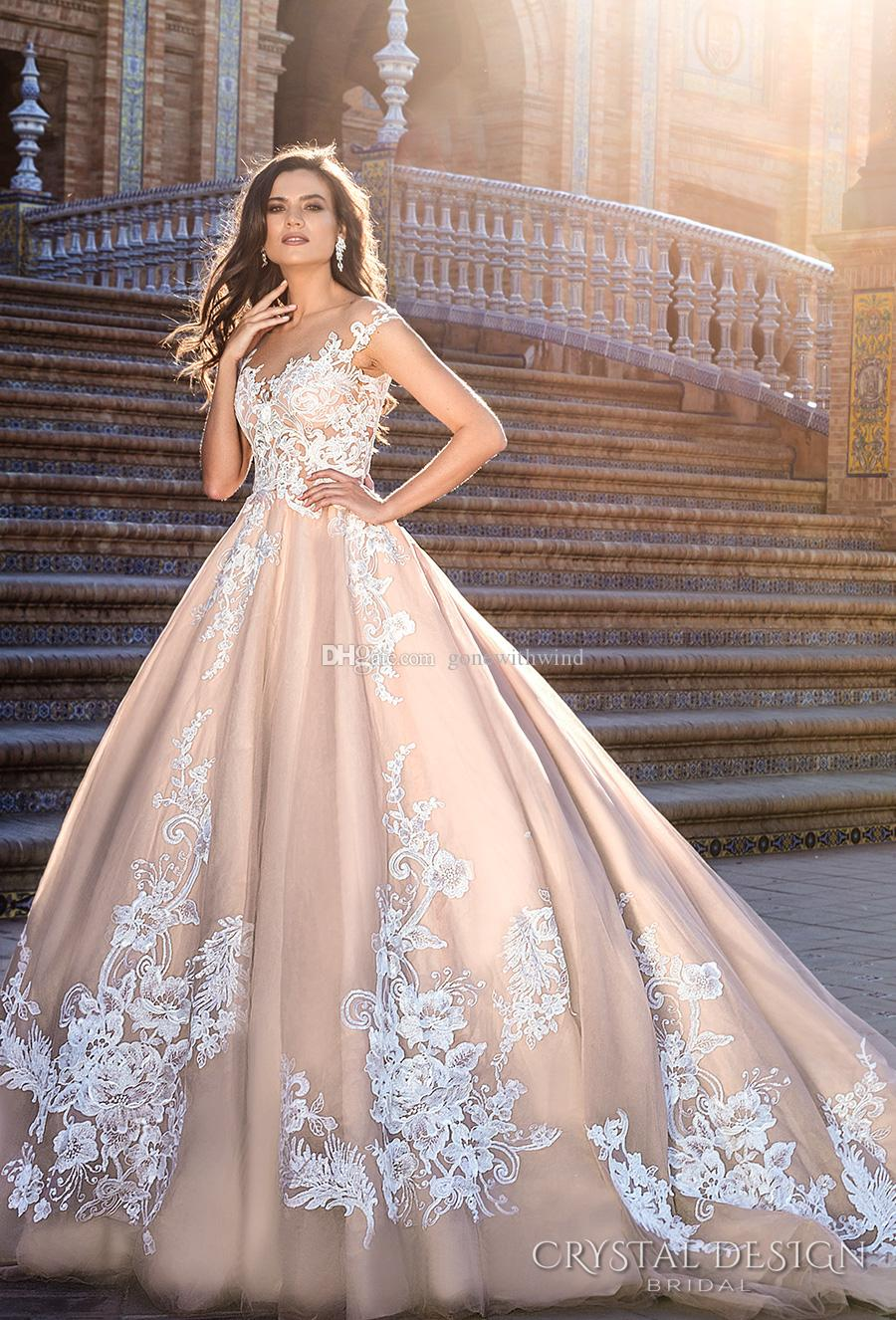 Blush Ball Gown Wedding Dresses 2017 Crystal Design Bridal Illusion ...