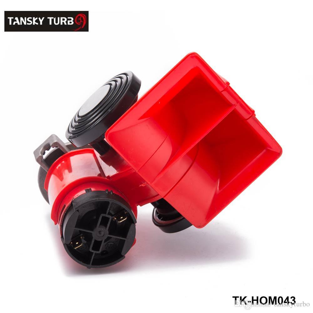 Tansky- سيارة دراجة نارية شاحنة 12 فولت الأحمر الاتفاق المزدوج لهجة مضخة كهربائية الهواء الصاخبة القرن مركبة صفارة TK-HOM043