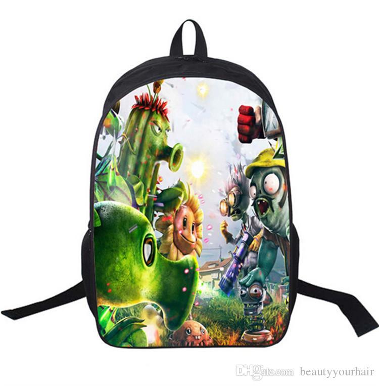 لطيف الكرتون 3d النباتات مقابل الكسالى الظهر حديقة الحروب أطفال بوي فتاة حقائب الكتف مدرسة bagpacks السفر الظهر 16 بوصة
