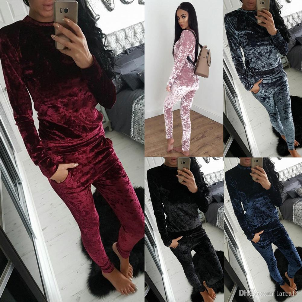 be2ca2f5 2017 Latest Trendy Fashion Velvet Women's Tracksuits High Quality O Neck  Long Sleeves Sporting Clothing Two Pieces T Shirt+Pants