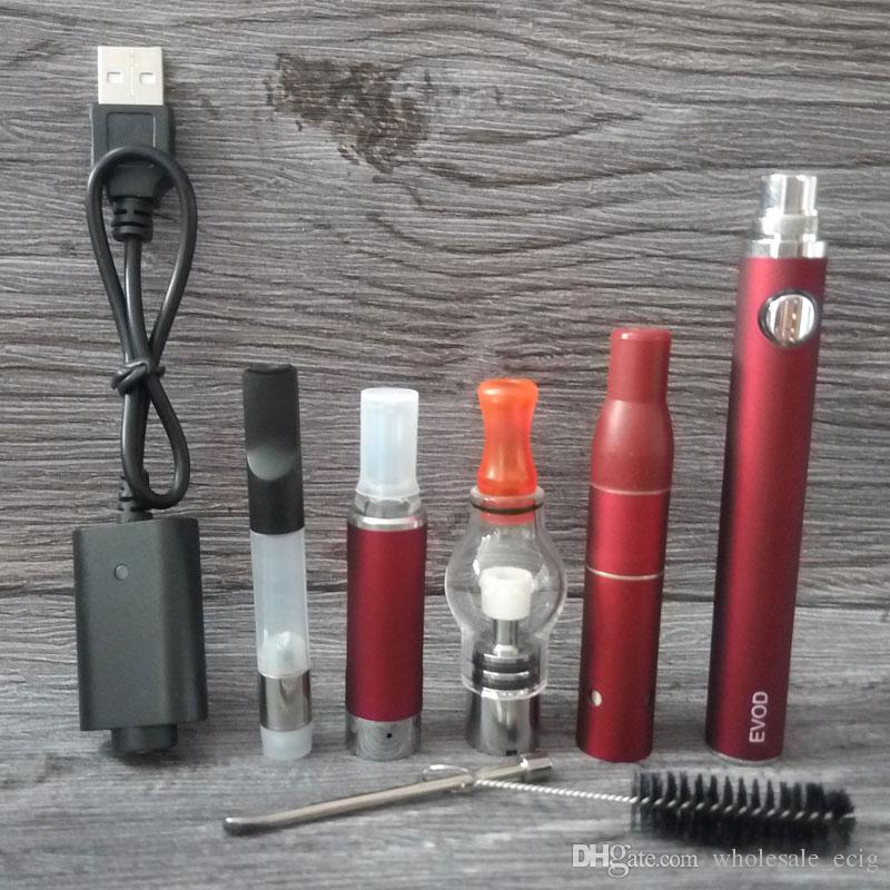 4in1 Vaporizer Starter Kits EVOD MT3 Atomizer Glass Globe Wax Dome Dry Herb CE3 Cartridges Oil 4 in 1 Vape Pen Kit