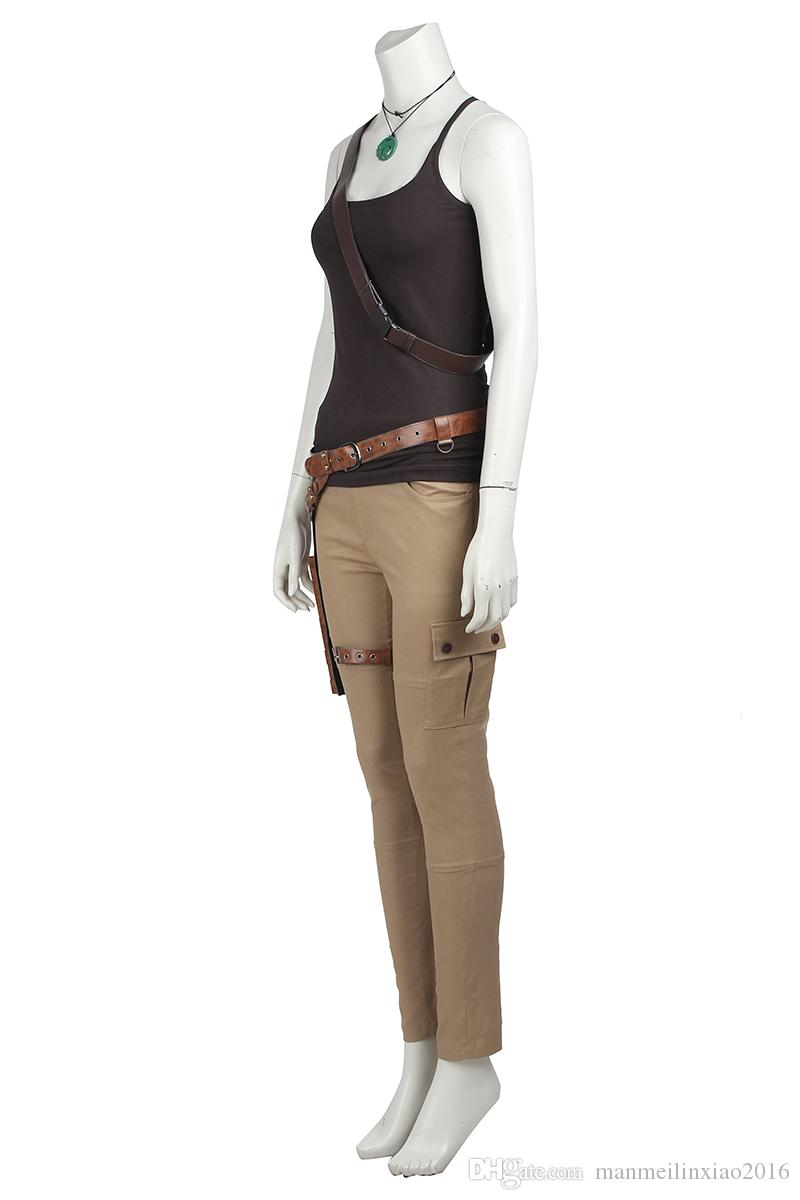 Popular COS Womens Ladies Lara Croft Tomb Raider Video Game 90s Fancy Dress Cosplay Costume Outfit