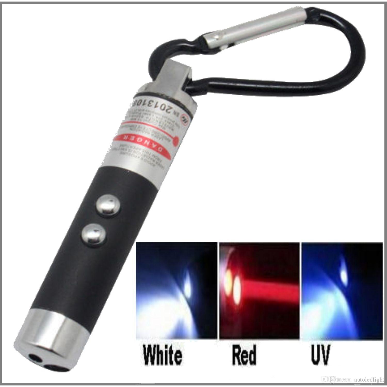 أبيض أحمر أسود أخضر رمادي 3 IN1 MULTIFUCTION MINI LASER TORCH LIGHT POINT مصباح الأشعة فوق البنفسجية LED مصباح يدوي