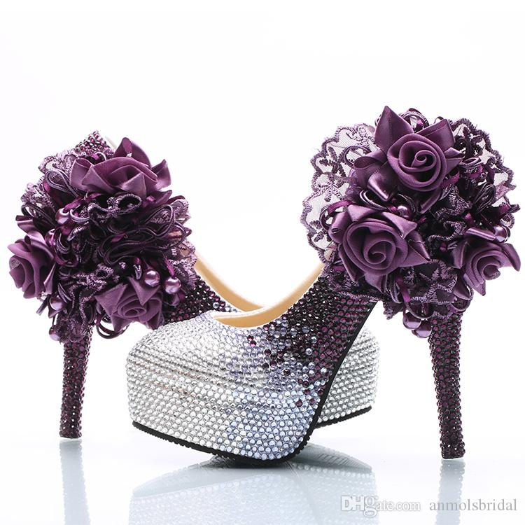 15c5e750876e Silver Plum Ombre Flower Beaded Cinderella Shoes Hand Made Prom Evening  High Heels Beading Rhinestones Bridal Bridesmaid Wedding Shoes 021 Silver  Bridal ...