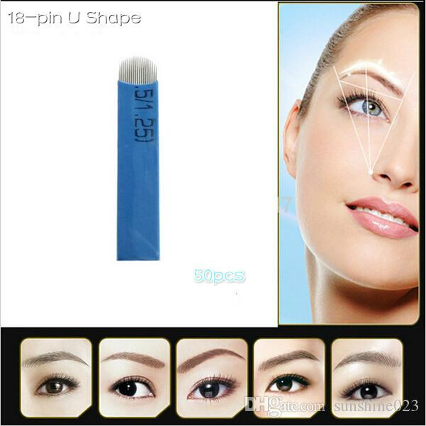 Hot selling-18 Pin U Shape Tattoo Needles Permanent Makeup Eyebrow Embroidery Blade For 3D Microblading Manual Tattoo Pen