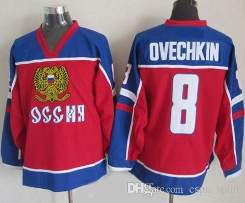 promo code 3abb9 ad039 Hot Sale Alex Ovechkin Olympic Jersey 2002 Team Russia 8 Alex Ovechkin  Russian Olympic Jersey Red Authentic Stitched Cheap Ice Hockey Jersey