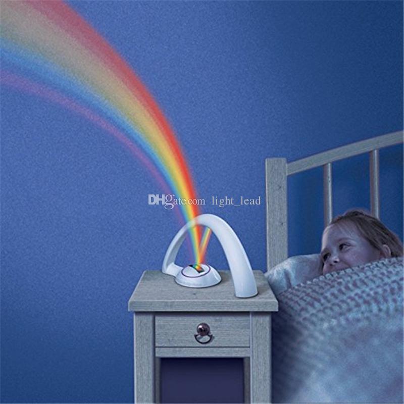 Proiettore arcobaleno a LED Luce notturna Lampada magica a colori bambini Luci romantiche con lacci capelli elastici la decorazione della camera Camera da letto