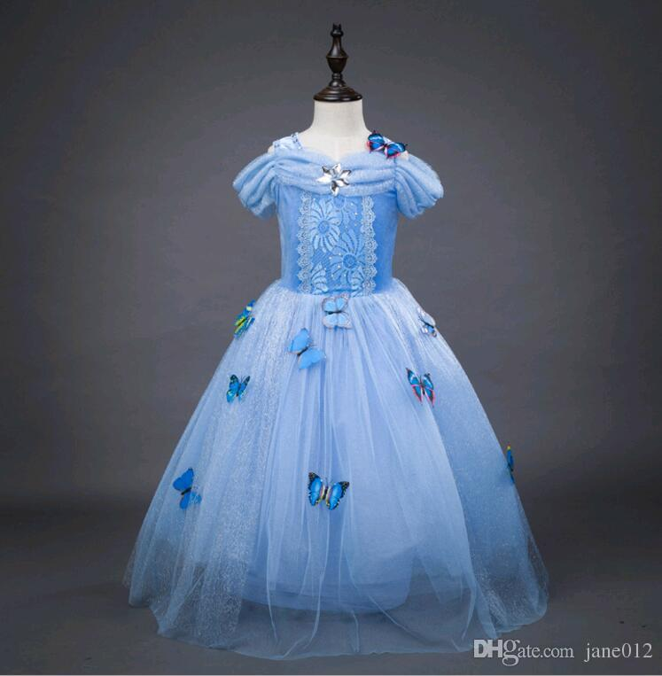 2018 off shoulder girl dresses princess christmas children clothing cinderella performance costume pleated kids party dress blue age 3 12 year from jane012 - Princess Christmas