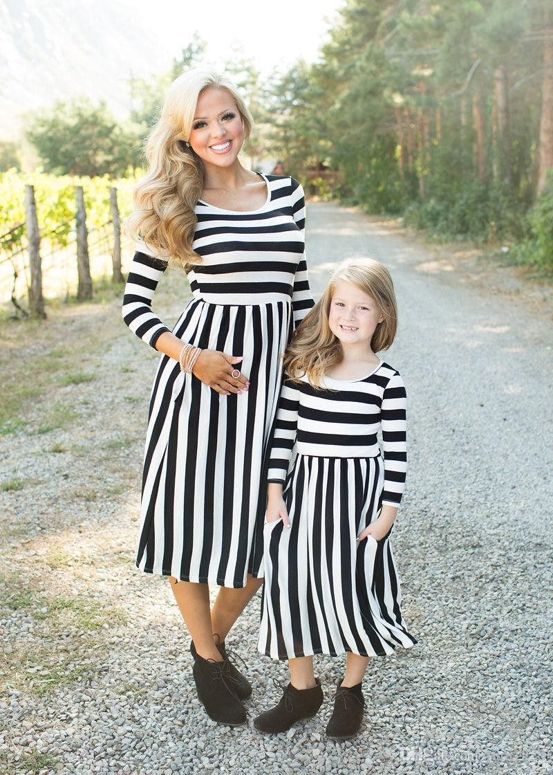 35124b92b New Mother Daughter Matching Dress Parent Child Mom Child Kids Wear Cotton  Striped Pleated Dress Family Same Half Sleeve Long Dress Skirts NZ 2019  From ...