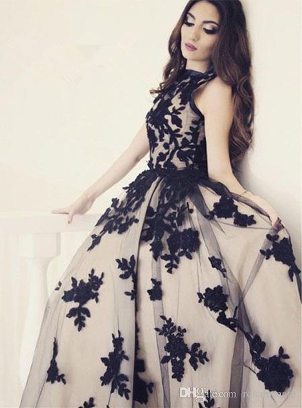 Robes de bal en dentelle noire Scoop sans manches robe formelle simple une ligne robes de soirée robe de soirée unique robe de bal en dentelle